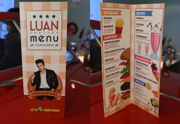 Músicas de Luan Santana intitulavam nomes de drinques e comidas no cardápio - Crédito: Thiago Duran/Divulgação