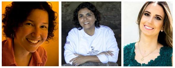 Renata Amaral, Ana Cláudia e Tati Canto conversam sobre gastronomia nas letras. Créditos: Divulgação