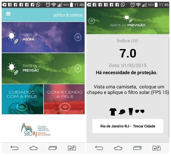 """Interface do app """"Proteção UV"""", da Sociedade Brasileira de Dermatologia do Rio de Janeiro. Créditos: Reprodução"""