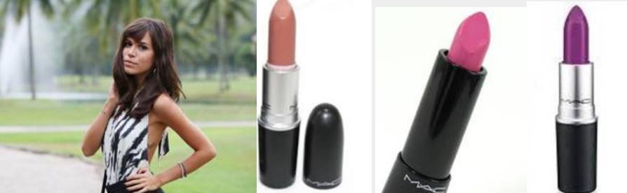 A atriz Carla Salle que interpreta a personagem Helo na novela Babilônia usa os batons Velvet Teddy, Divine choice e Heroine - Crédito: Divulgação/MAC Cosmetics