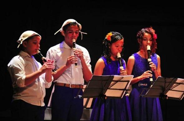 Grupo de Flautas Doces da Orquestra Criança Cidadã. Crédito: Reprodução Caixa Cultural