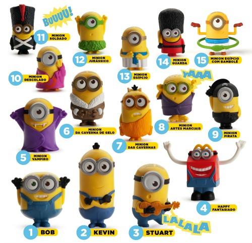 Os 15 modelos de Minions que chegam, hoje, ao Mc Donalds. Crédito: Divulgação