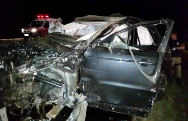 Estado em que ficou o carro do cantor   PRF- Divulgação