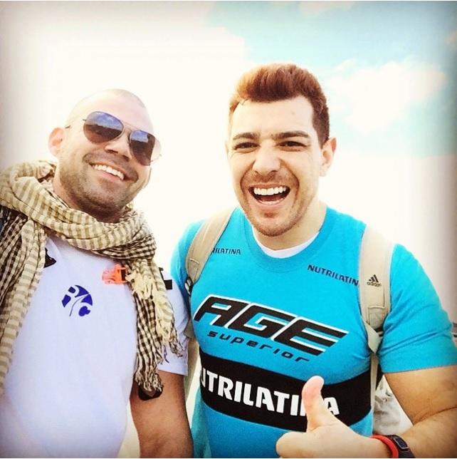 César e André Neumann, seu treinador, no inicio do percurso.  Créditos: Reprodução Instagram