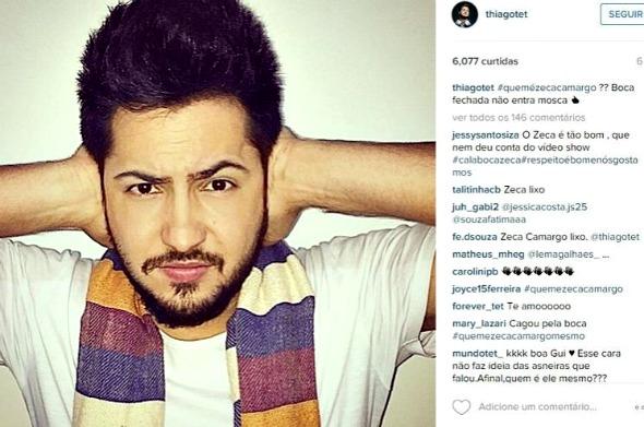 """Thiago, da dupla Thaeme e Thiago, escreveu: """"Boca fechada não entra mosca"""". - Crédito: Reprodução do Instagram"""