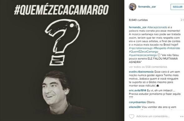 """A música sertaneja não pode ser tratada assim, teriam que ter mais respeito com ela e com seus artistas, afinal de contas é a música mais tocada no Brasil hoje"""", escreveu Fernando, da dupla com Sorocaba - Crédito: Reprodução do Instagram"""