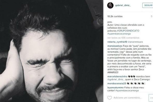 """Gabriel Diniz utilizou o mesmo texto da dupla Henrique e Juliano: """"O senhor estava sob efeito de alguma droga?"""" - Crédito: Reprodução do Instagram"""