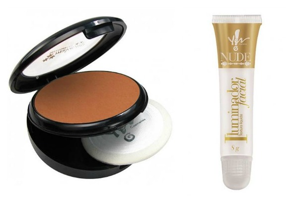 Pó compacto e iluminador líquido  Yes - Crédito: Divulgação/Yes Cosmetics