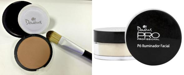 Po compacto e pó iluminador facial Dailus - Crédito: Thayse Boldrini/DP/D.A Press e Divulgação/Dailus
