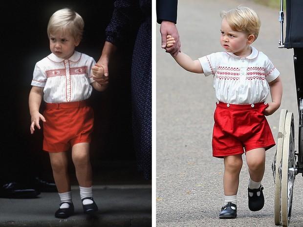 Comparação entre as roupas do Príncipe William (1984) e do Príncipe George (2015). Crédito: Reprodução/Facebook