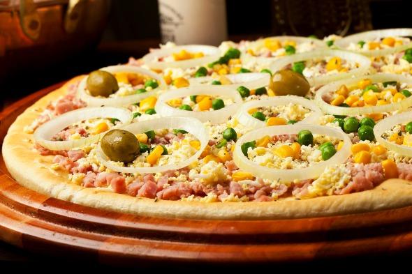 Pizza Portuguesa da Pizzaria Atlântico. Crédito: Dante Barros/Divulgação