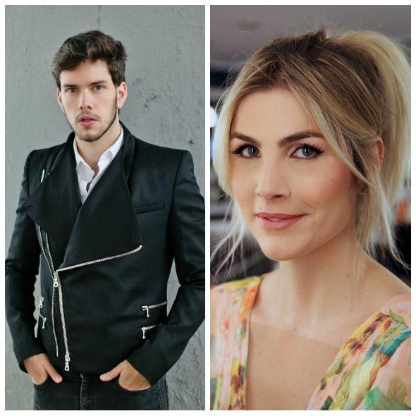 Gabriel Gontijo e Julia Faria no programa Na Cola, do Tag It - Créditos: Reprodução do Instagram e Alex Furquim/Divulgação