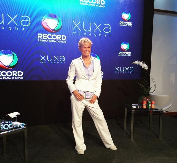 Xuxa durante a coletiva de imprensa Créditos: Reprodução Instagram Oficial de Xuxa