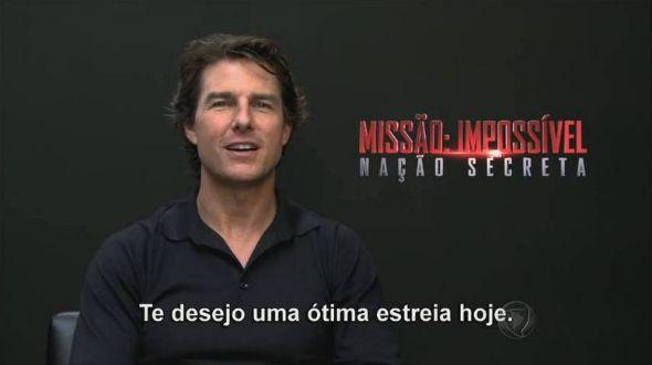 Tom Cruise mandou um recado para a loira. Crédito: Reprodução/Rede Record