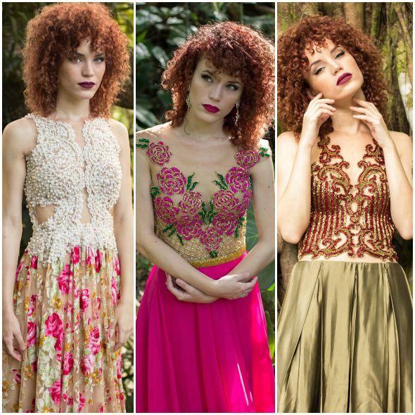 Alguns dos vestidos que são fabricados e vendidos pela Joana Julião Créditos: Divulgação