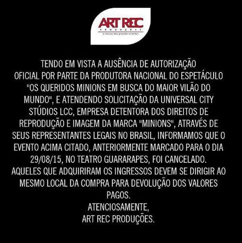 Comunicado da Art Rec, postado nas redes sociais. Crédito: Reprodução Instagram