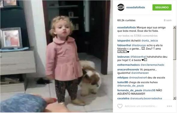 O vídeo de uma criança colocando as rédeas em alguém de casa foi o vídeo mais visualizado da história do perfil: 60,2 mil curtidas e mais de 57 mil comentários. Crédito: Reprodução Instagram / Divulgação