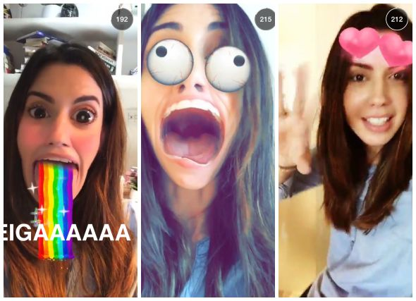 Camila Coutinho brincando com as novas lentes do Snapchat - Crédito: Divulgação/Snapchat