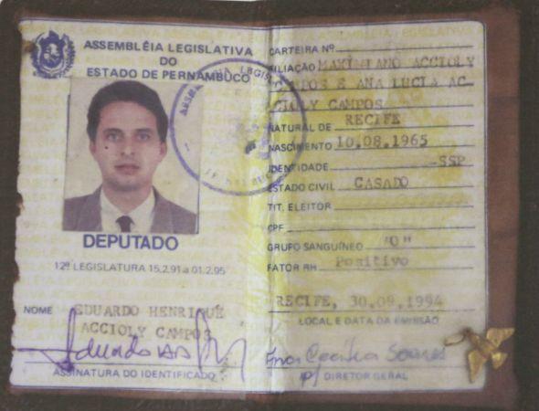 Carteira de deputado Eduardo Campos - Crédito: Hesiodo Goes/Esp. DP/D.A. Press