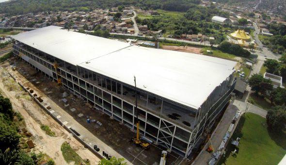 Crédito: Camará Shopping/Divulgação Vista aérea da construção do Camará Shopping - Prática sustentáveis das empresas