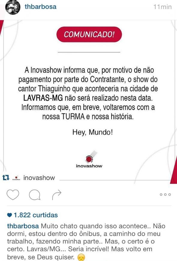 Imagem utilizada no instagram do cantor para divulgar o cancelamento do show Créditos: reprodução INstagram Thiaguinho