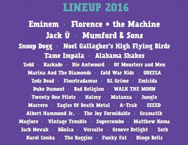 Lineup completo de 2016 divulgado há pouco. Crédito: Reprodução/lollapaloozabr.com