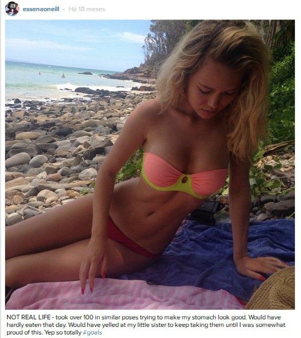 """""""NÃO É A VIDA REAL - tirei mais de cem em poses similares tentanto fazer com que meu estômago ficasse bem. Quase não comi neste dia. E gritei com a minha irmã mais nova para que ela ficasse tirando elas até que eu ficasse, de alguma forma, orgulhosa disso."""" Créditos: Reprodução Instagram"""