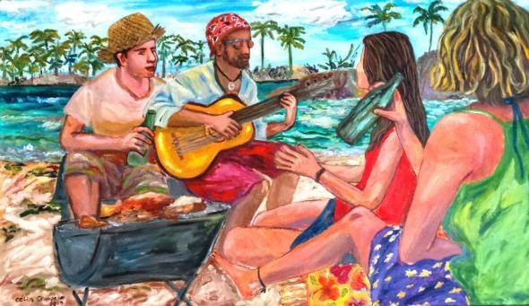 """Tela """"Churrasco na Praia"""". Crédito: Reprodução/Célia Campello"""