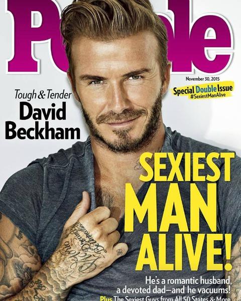 Capa da edição de aniversário de 30 anos da revista People, com David Beckham na capa. Crédito: Reprodução Facebook