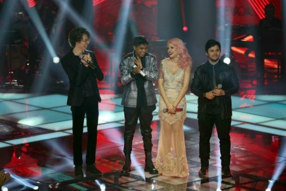 Os quatro finalistas do The Voice. Crédito: Gshow/Divulgação