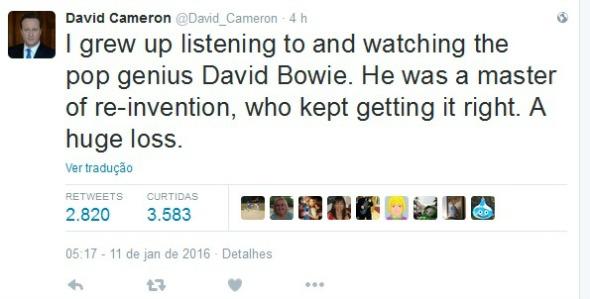 """O primeiro ministro britânico David Cameron: """"Eu cresci ouvindo e assistindo o gênio do pop David Bowie. Ele era um mestre em se reinventar, e continuava acertando. Uma grande perda."""" - Crédito: Reprodução/Twitter"""