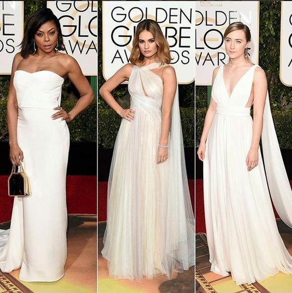 O branco apareceu nos vestidos de Taraji P. Henson, Lily James e Saoirse Ronan. - Crédito: Reprodução/Instagram