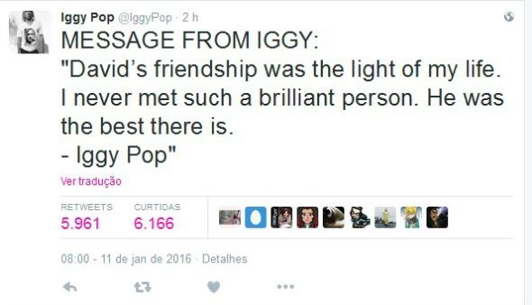 """O músico Iggy Pop """"A amizade do David era a luz da minha vida. Nunca conheci ninguém tão brilhante. Ele era o melhor."""" - Crédito: Reprodução/Twitter"""