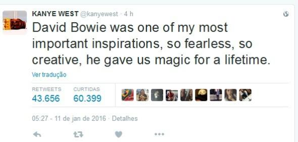 """O rapper Kanye West também lamentou a morte do cantor: """"David Bowie era uma das minhas inspirações mais importantes, tão destemido, tão criativo, ele nos deu mágica por uma vida toda"""" - Crédito: Reprodução/Twitter"""
