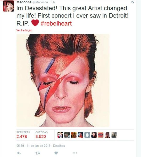 """Madonna: """"Estou devastada! Este grande artista mudou a minha vida! Primeiro show que eu assisti em Detroit!"""" - Crédito: Reprodução/Twitter"""
