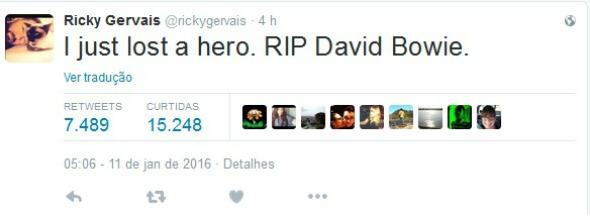"""O comediante Ricky Gervais se pronunciou """"Acabo de perder um herói"""" - Crédito: Reprodução/Twitter"""