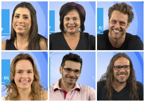Juliana (SP), Harumi (SP), Daniel (RJ), Ana Paula (MG), Alan (RN) e Tamiel (GO). Crédito: Reprodução/GShow
