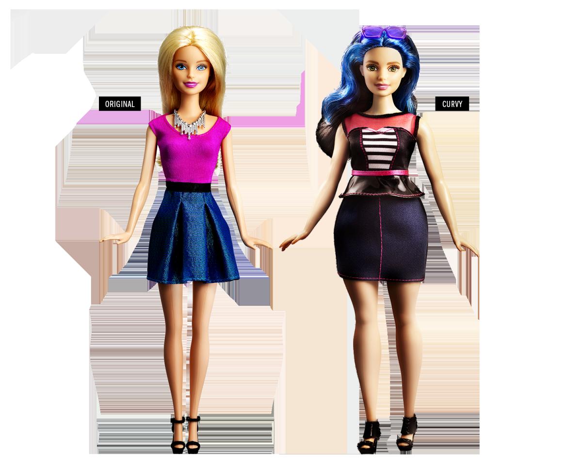 A Barbie Original e a nova Barbie Curvy- Crédito: Reprodução/Mattel