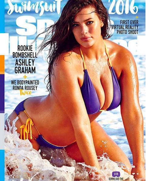 A modelo Ashley Graham foi a primeira plus-size na capa da Sports Ilustrator - Crédito: Reprodução/Instagram