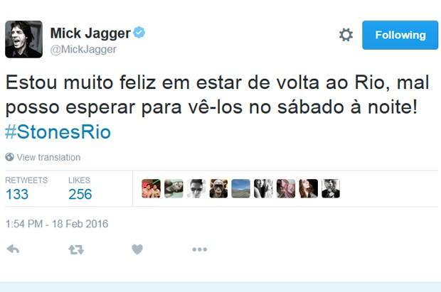 Post do cantor em português no Twitter - Crédito: Reprodução/Twitter