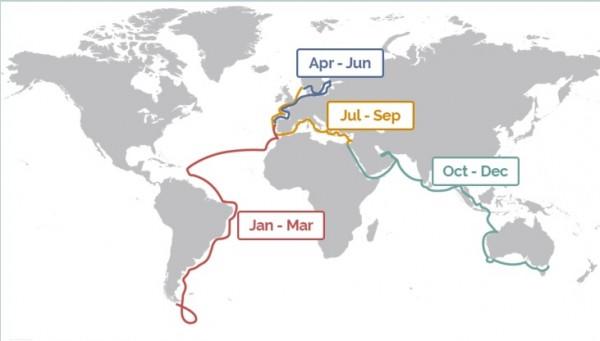 O itinerário do navio- residência - Crédito: Reprodução/The World