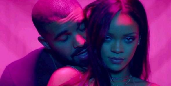 Rihanna com o rapper Drake - Crédito: Reprodução/Twitter