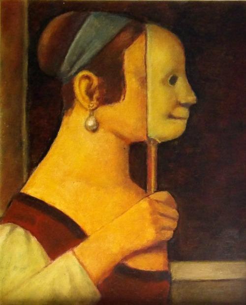 """A pintura """"Moça com máscara"""". Crédito: Reprodução"""