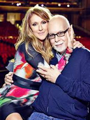 Celine Dion e René Angéli, numa das imagens mostradas no telão do show