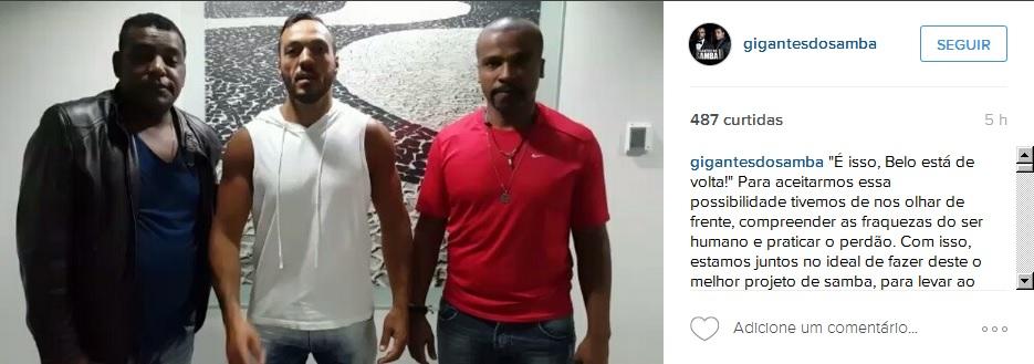 Vídeo publicado na página do grupo confirma volta de Belo - Crédito: Reprodução/Instagram