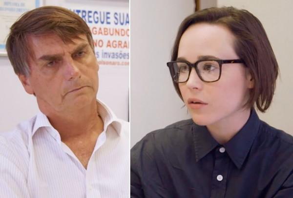 Jair Bolsonaro e Ellen Page - Crédito: Reprodução/Papelpop