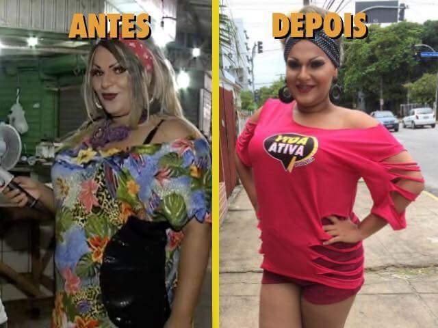 O antes e depois de Jurema Fox - Crédito: Arquivo pessoal