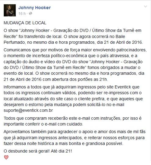 Comunicado da mudança de local foi postado no Facebook - Crédito: Reprodução/Facebook