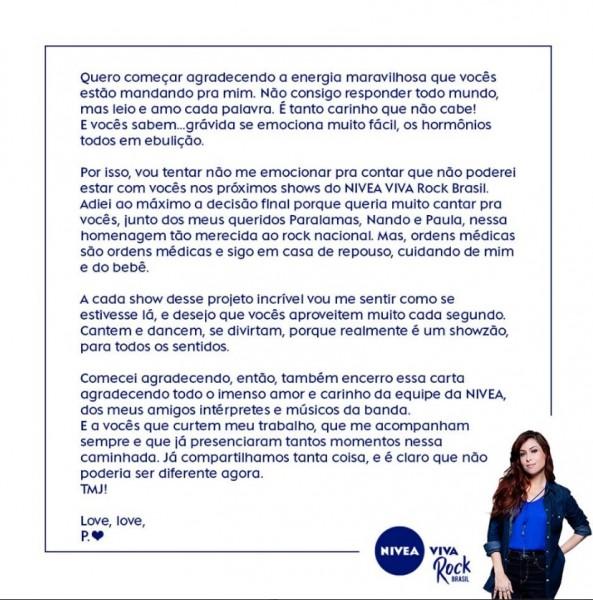 Comunicado completo de Pitty sobre afastamento do projeto - Crédito: Reprodução/Facebook