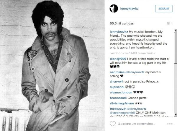 """Lenny Kravitz chamou o cantor de """"irmão musical"""" - Crédito: Reprodução/Instagram"""